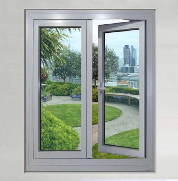 Cửa sổ nhôm kính mở quay màu trắng
