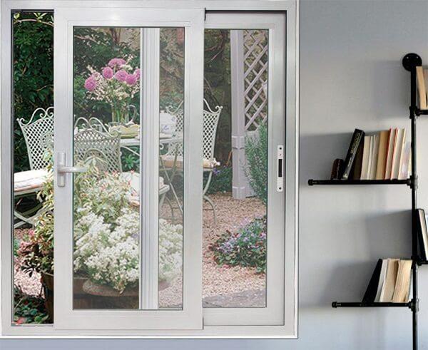 Mẫu nhôm kính cửa sổ kéo trượt màu trắng