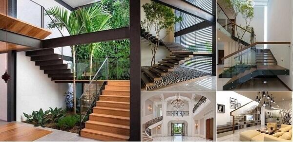Cầu thang kính với tay vịn đơn giản, tạo sự thoải mái cho ngôi nhà