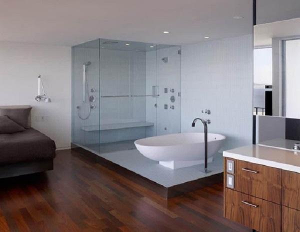 Phòng tắm kính tạo cảm giá nhà tắm trở nên rộng hơn