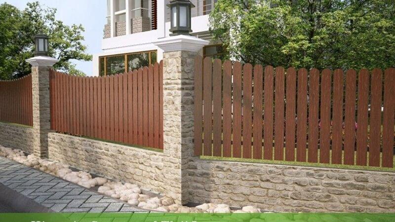 Mẫu hàng rào gỗ độc đáo cho nhà biệt thự