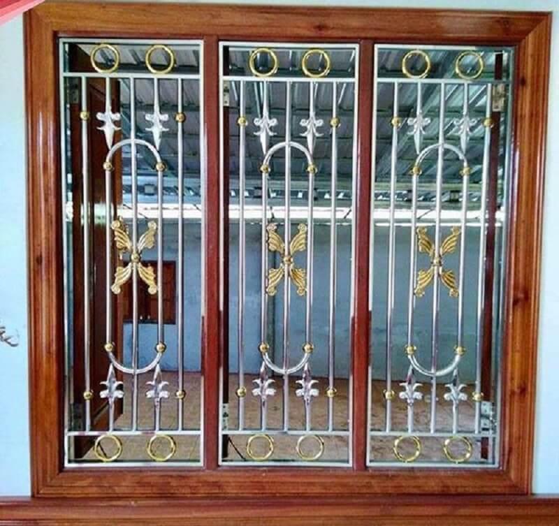Mẫu khung cửa sổ bằng inox sơn màu sang trọng