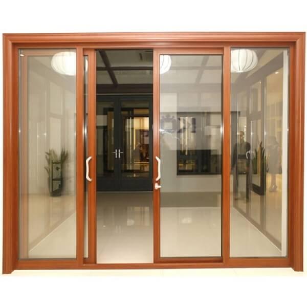 Cửa nhôm kính PMI 4 cánh màu vân gỗ sang trọng hiện đại
