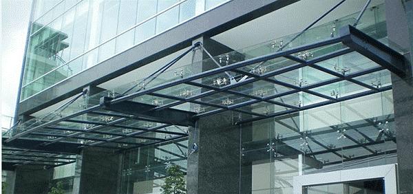 Mái hiên kính cố định đẹp cho công ty