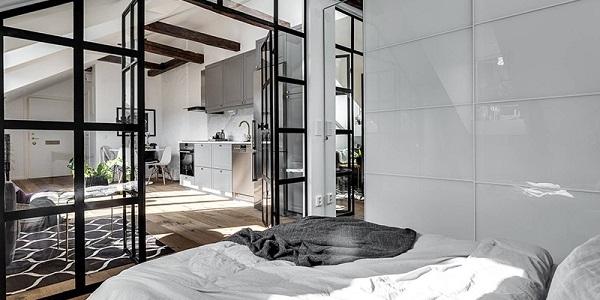 Cửa nhôm kính thiết kế hiện đại cho phòng ngủ Master