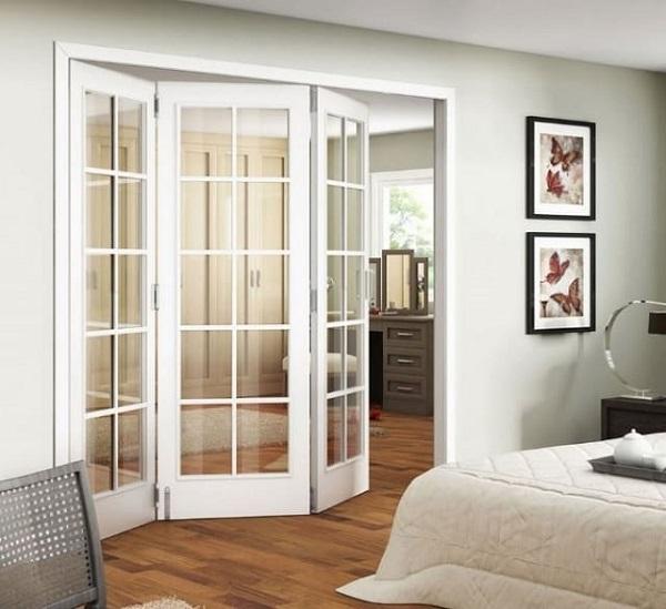 Mẫu cửa nhôm kính xếp cao cấp cho phòng ngủ