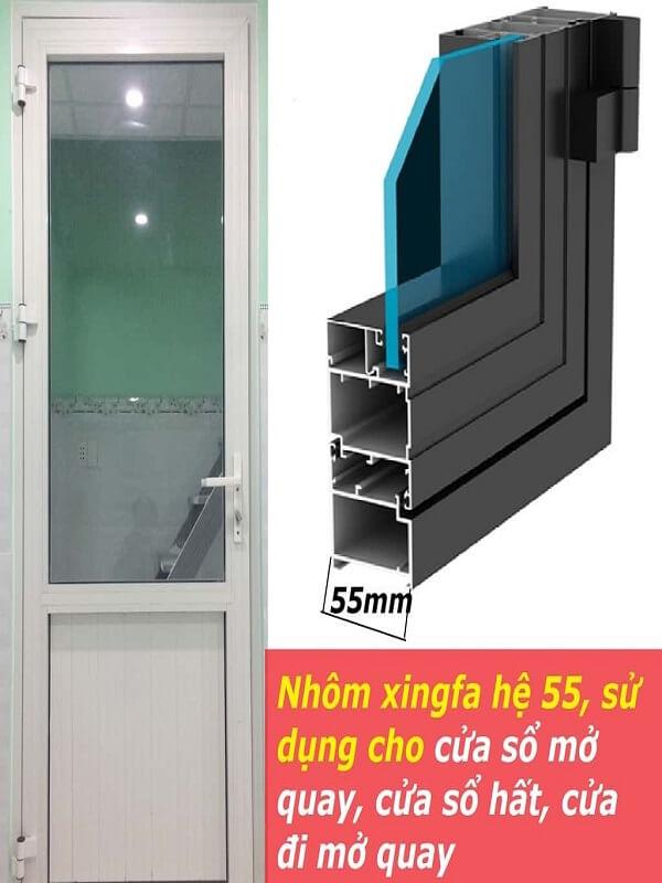 Nhôm hệ 55 phù hợp với nhiều loại cửa khác nhau, nhiều mục đích sử dụng khác nhau. Màu sắc hệ nhôm 55 cũng rất da dạng, màu sắc bắt mắt từ những màu thanh lịch đến những màu nổi bật