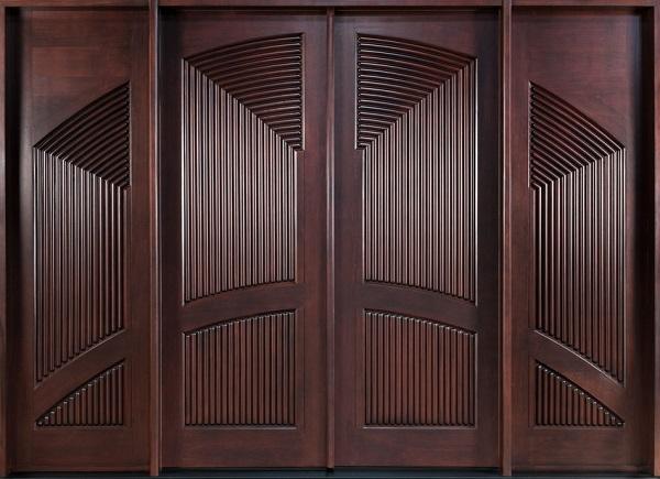 Mẫu cửa nhôm giả gỗ 4 cánh thể hiện đươc một vẻ đẹp độc đáo với các họa tiết đối xứng xen kẽ hài hòa đẹp mắt mang vẻ đẹp vô cùng tinh tế