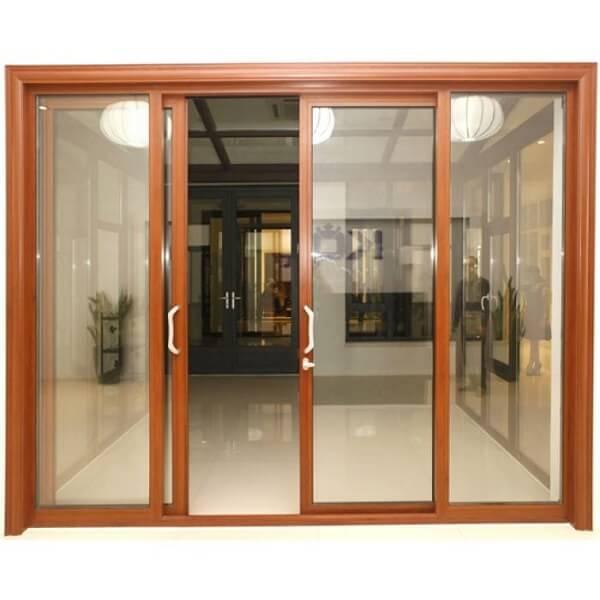 Mẫu cửa nhôm Xingfa 2 cánh vân gỗ hiện đại, cao cấp