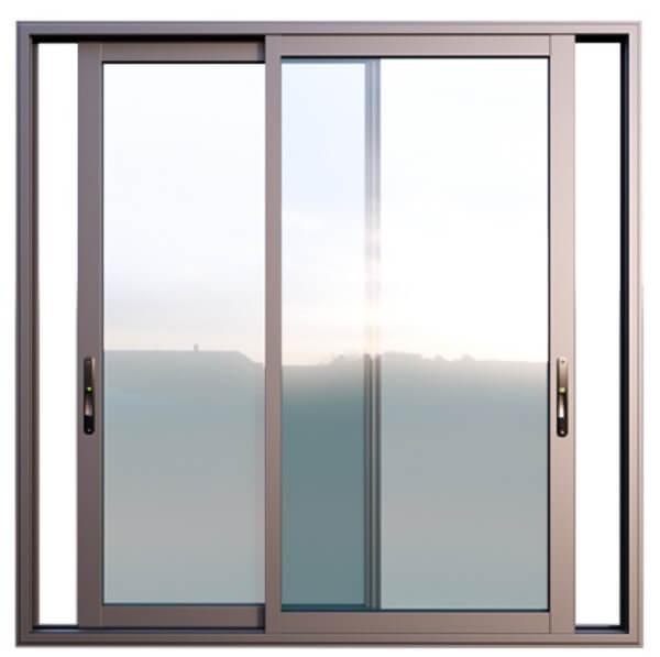 Mẫu cửa sổ nhôm kính 2 cánh màu nâu nhạt, thiết kế hiện đại, sang trọng