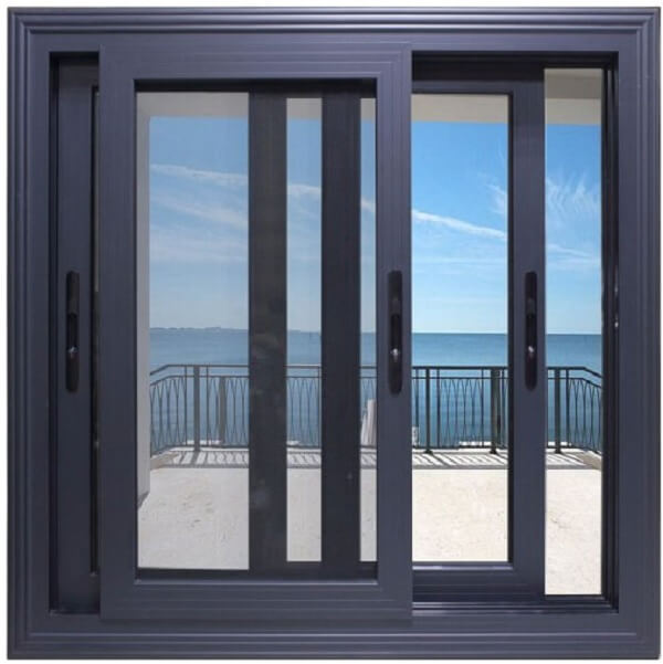 Cửa sổ nhôm kính 2 cánh mở trượt màu đen đẹp, hiện đại.