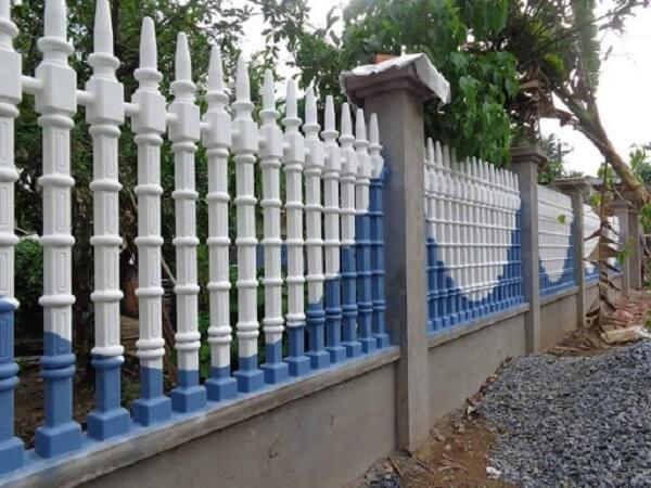 Mẫu hàng rào nông thôn màu trắng xanh đẹp mắt