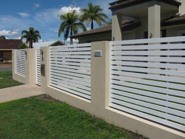 Hàng rào sắt màu trắng hiện đại cho nhà biệt thự, nhà phố