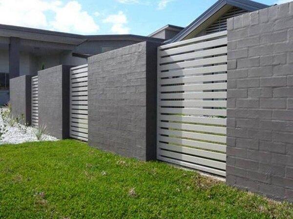 Mẫu tường rào gạch sơn màu xám hiện đại, cao cấp