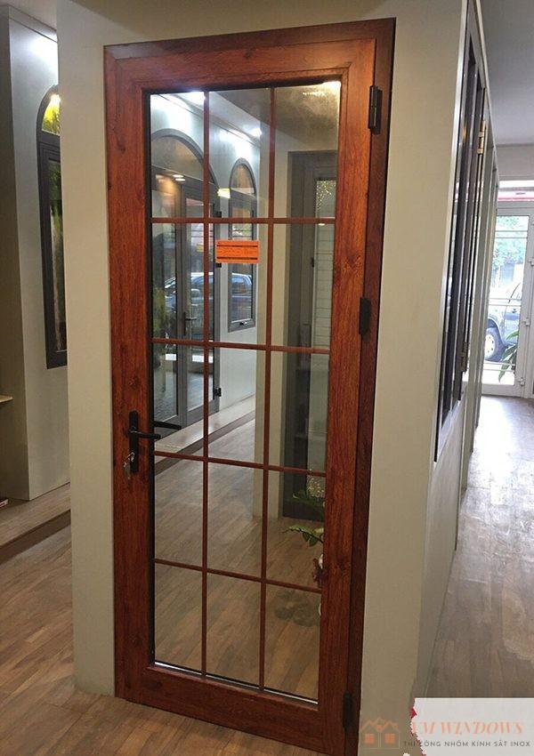 Mẫu cửa nhôm xingfa 1 cánh mở xoay hiện đại, sang trọng