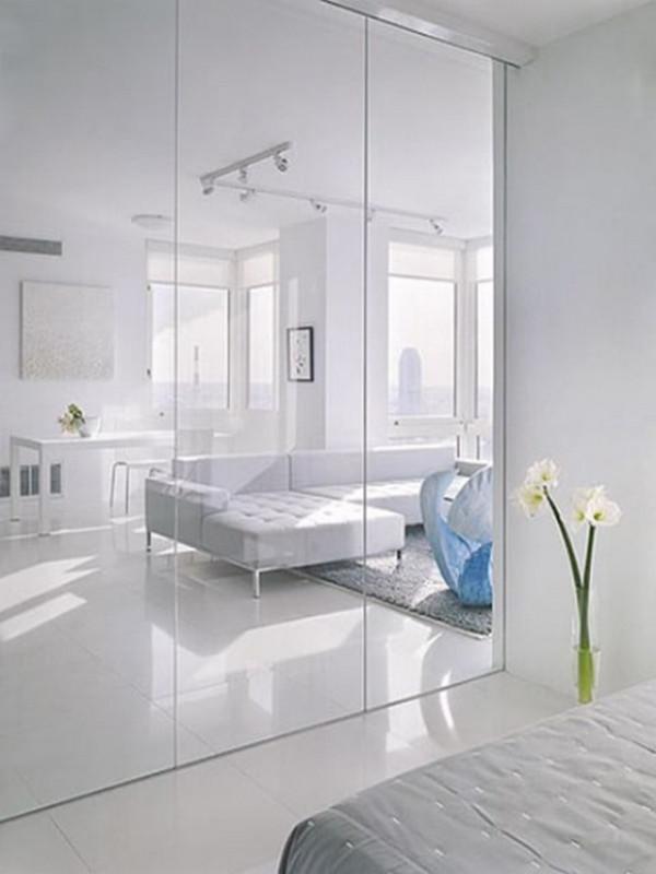 Vách kính ngăn phòng ngủ và phòng khách