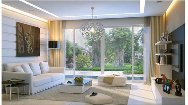 Vách kính ngăn phòng khách và khuôn viên