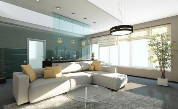 Vách kính ngăn phòng khách và khu vực bếp
