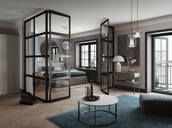 Vách ngăn nhôm kính phòng ngủ trong kiến trúc hiện đại