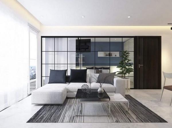 Vách kính phòng ngủ phong cách hiện đại cho chung cư