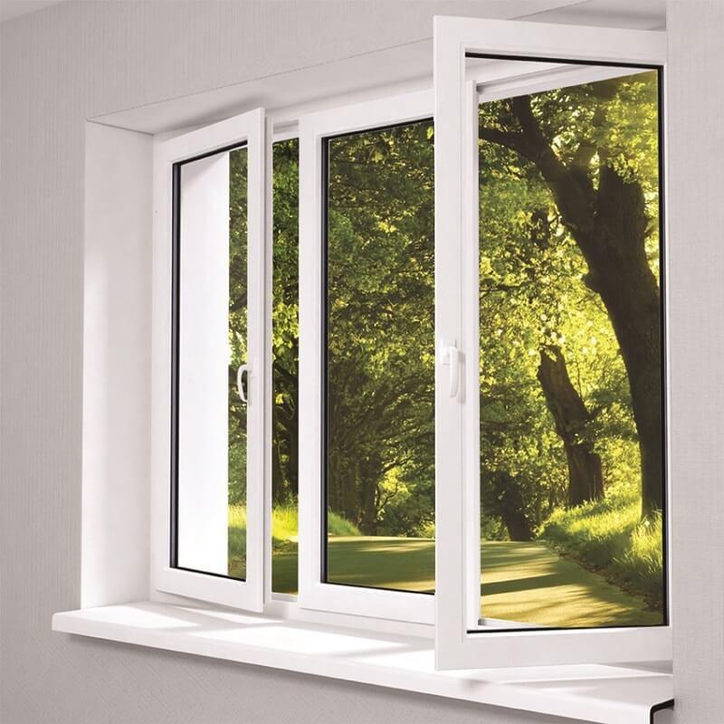 Thiết kế cửa sổ nhôm trắng kính xingfa 3 cánh mở quay