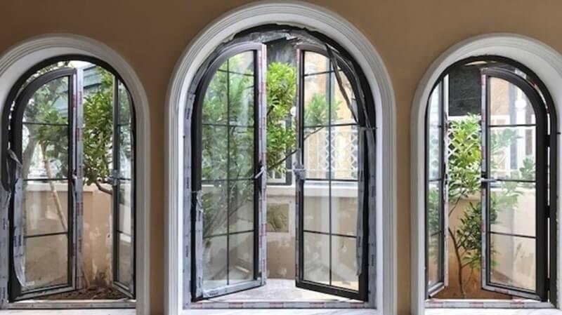 Cửa sổ nhôm kính xingfa 3 cánh kiểu uốn vòm