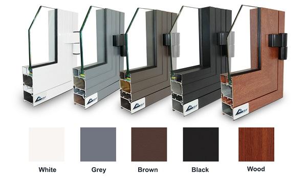 cửa nhôm kính xingfa chia ô có nhiều màu sắt khác nhau