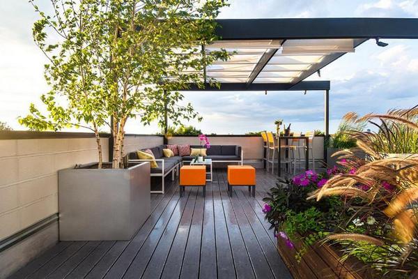 Mái hiên sân vườn hiện đại kết hợp với cây cảnh