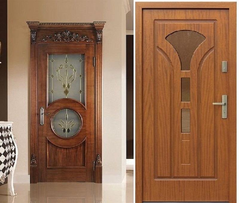 Mẫu cửa giả gỗ màu nâu lạnh cùng các họa tiết lạ mắt tạo điểm nhấn thu hút cho cửa
