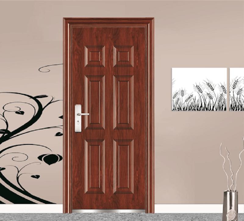 Mẫu cửa nhôm giả gỗ có tay vặn dễ thao tác và phù hợp với nhiều thiết kế nội thất khácnhau từ đơn giản đến sang trọng
