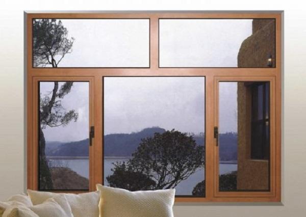 Mẫu cửa sổ nhôm kính giả gỗ biệt thự sang trọng