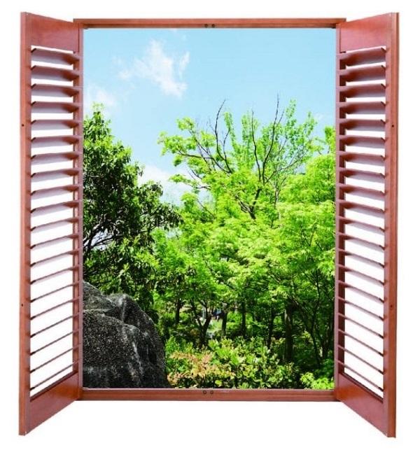 Mẫu cửa sổ nhôm chớp lật giả gỗ