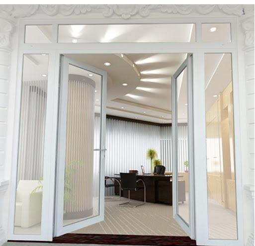 Mẫu cửa nhôm xingfa màu trắng dành cho văn phòng