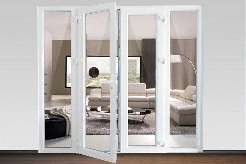 Mẫu cửa nhôm xingfa màu trắng 4 cánh mở quay