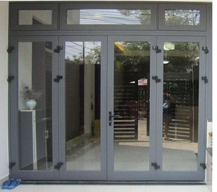 Mẫu cửa nhôm xingfa màu xám ghi an toàn