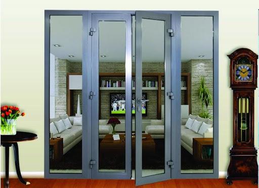 Mẫu cửa nhôm kính phòng khách 2 cánh màu xám nổi bật