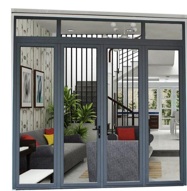 Mẫu cửa nhôm kính phòng khách màu xám ghi hiện đại
